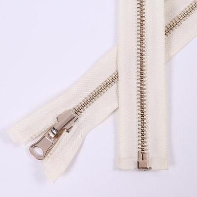 Alipress 5#90 см длинный открытый конец молния светильник золотые зубы металлические молнии для DIY шитья пуховик Куртка - Цвет: off white
