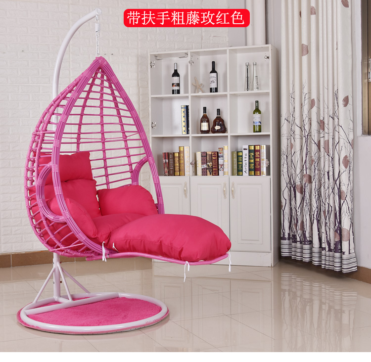 0404TB022 Rough rattan livingroom bedroom balcony hanging chair swing rocking leisure chair with armrest and Pedal footrest
