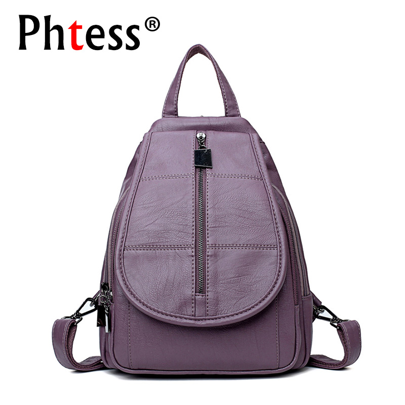 2018 New Vintage Leather Backpacks Female Travel Shoulder School Bag Preppy Bagpack Ladies Sac a Dos Women Backpack High Quality