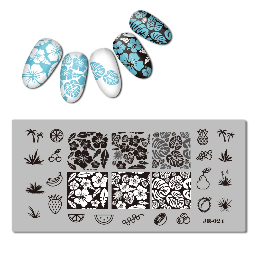 1pc Dandelion Nail Template Tropical Plant Leaf Stamping Template Flamingo Stamp Plate Manicure Nail Stamp Tools in Nail Art Templates from Beauty Health