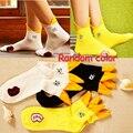 Outono e Primavera das Mulheres Bonito Padrão Pato Curto Sock Aleatório Preto e Branco 1 Par Wz105