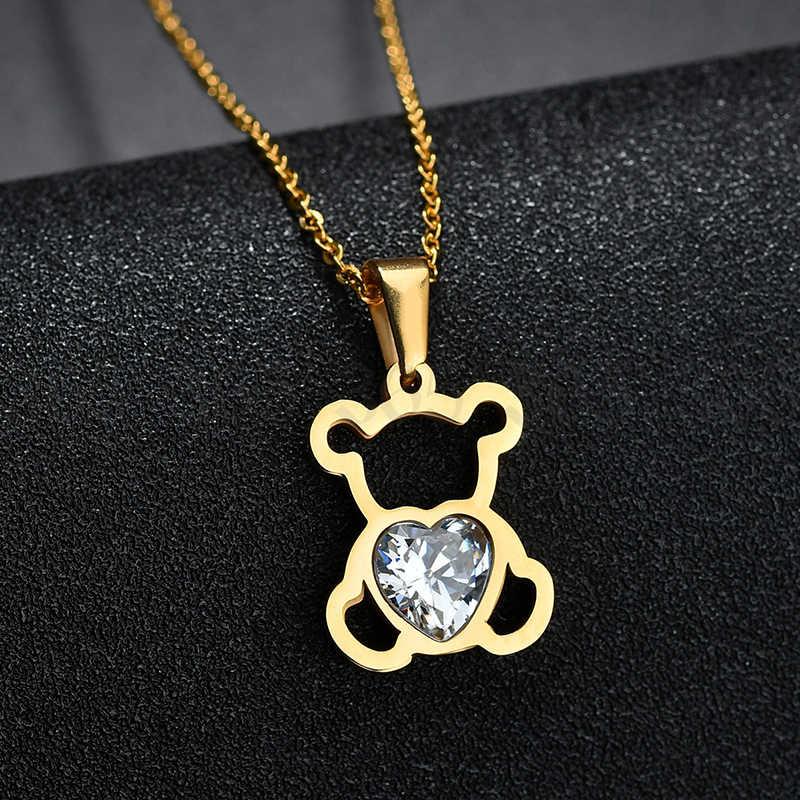 チャーム中空キュービックジルコンクマチェーンネックレス女性ゴールドカラー動物の宝石類のギフト