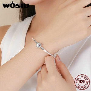Image 5 - WOSTU High Quality Real 925 Sterling Silver Licorne Charm Bracelet For Women Fit Original Brand DIY Beads Bangle Jewelry BKB083