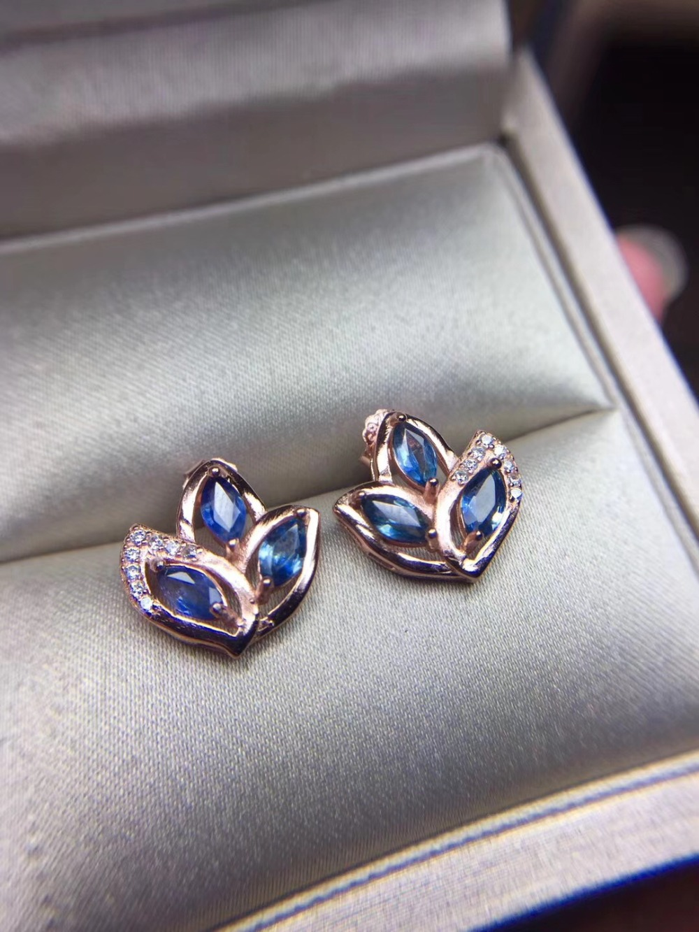 Earring Natural and Real sapphire stud earrings Natural and real sapphire 925 sterling silver Earring серьги 925 silver earring