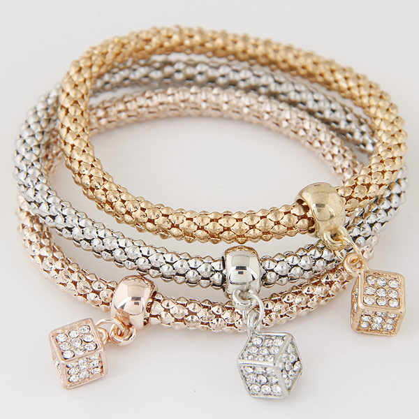 LEMOER 3PCS Designer Crystal Cubic Charms Jewelry For Women Girls Gold Silver Chain Bracelets & Bangles pulseras mujer gift