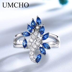 Image 1 - UMCHO hakiki 925 ayar gümüş yüzük taş mavi safir yüzük kadınlar için kokteyl çiçekler Trendy romantik hediye güzel takı