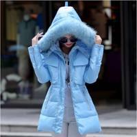 2015 Winter Jacket Women Thickening Cotton Padded Coat Fur Hood Parka Women Manteau Femme AE835