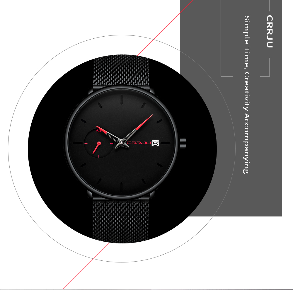 Image 5 - Crrju Sports Date Mens Watches Top Brand Luxury Waterproof Sport Watch Men Ultra Thin Dial Quartz Watch Casual Relogio Masculino-in Quartz Watches from Watches