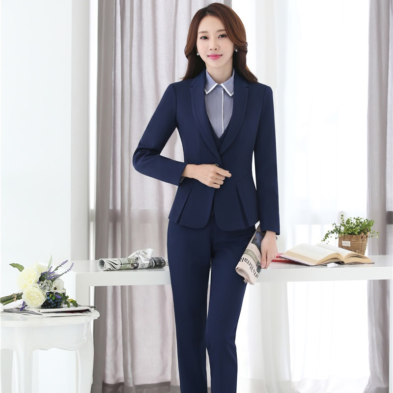 Dames Bedrijf Professionele Blazers Met 4 stuks Jassen + Broek + Vest + Blouse voor Dames Broek Past Broekpakken Plus size - 2