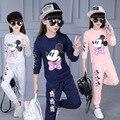 2016 Nova Outono Meninas Conjuntos de Roupas de Bebê Menina Dos Desenhos Animados Minnie imprimir Manga Comprida Hoodies Quente Com Calças 2 pcs Roupa Dos Miúdos terno