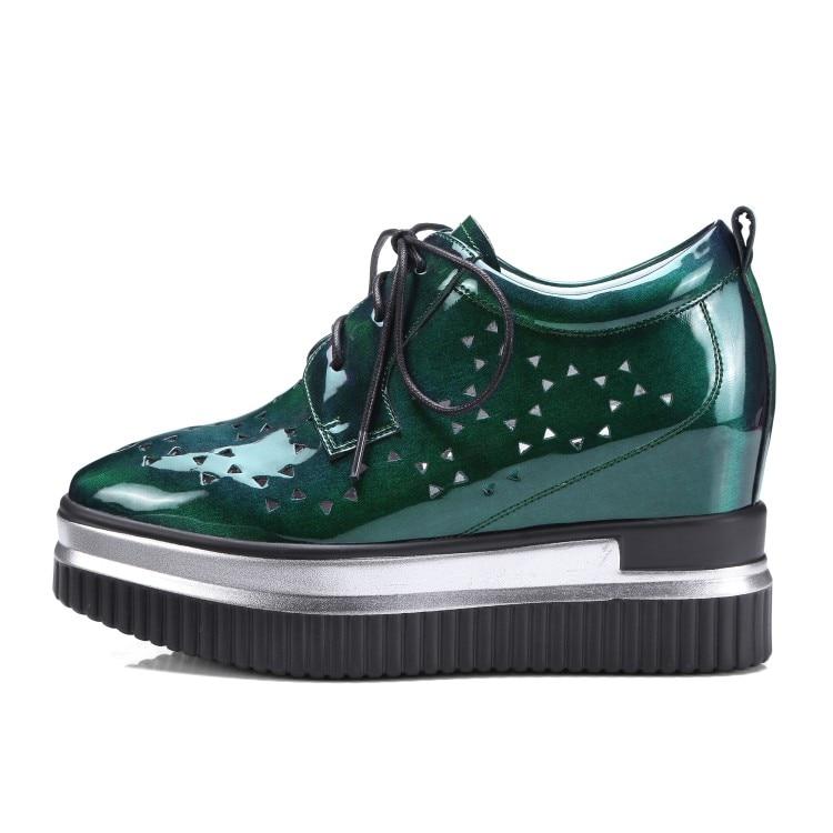 Altura Cuero Las Moda Mujeres Verde Nueva 2018 Cuñas Bombas Mujer {zorssar} Zapatos Ocio Creciente Para Patente De Tacones Creepers ZzFEXw