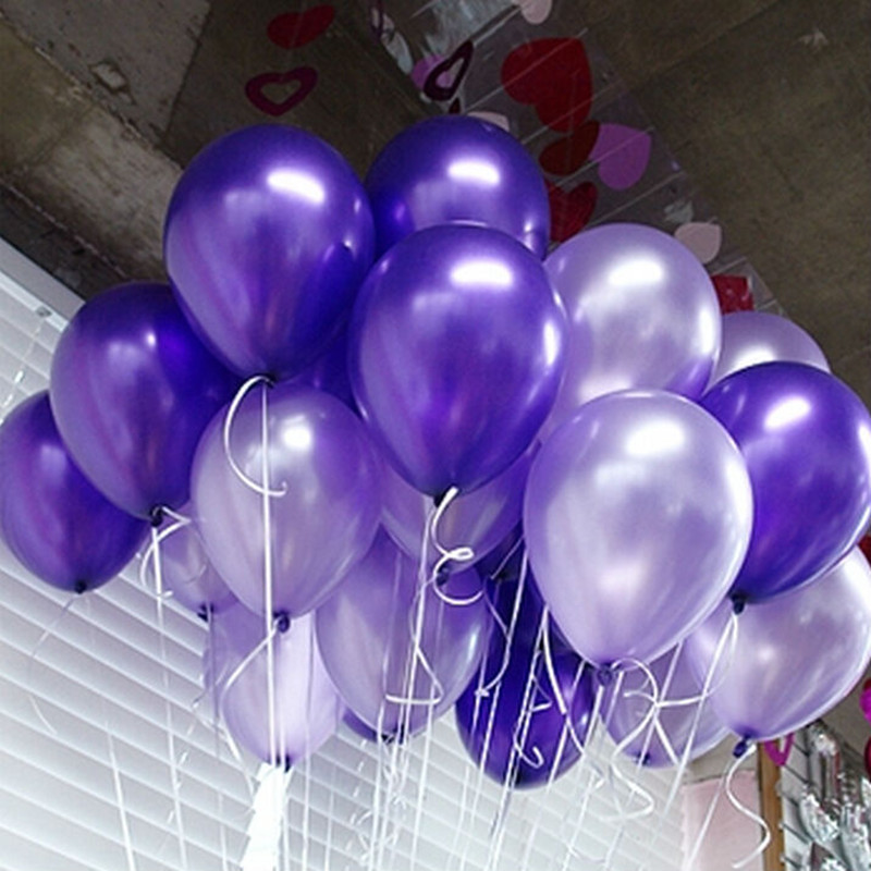 Light purple 50 pcs+deep purple 50pcs 10inch 2.8g Latex Helium Inflable Thickeni