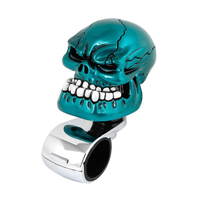 Azul Cabeça Do Crânio Do Estilo do carro Volante Knob Handle Tom Silver