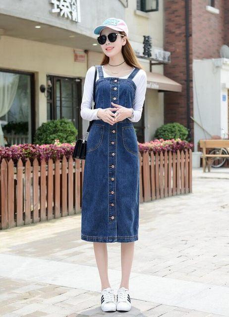 eebcc4bc001 Online Shop Korean Women Denim Sundress 2018 spring Autumn Summer ...