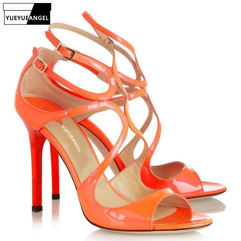 La Cuero Elegante Zapatos Fiesta Sexy Orange green Peep Dedos Señoras Sandalias Patente Delgada Mujeres Verano Moda De Las Hebilla Tacones Pies Los Banquete Correa Tobillo wH1qtaR
