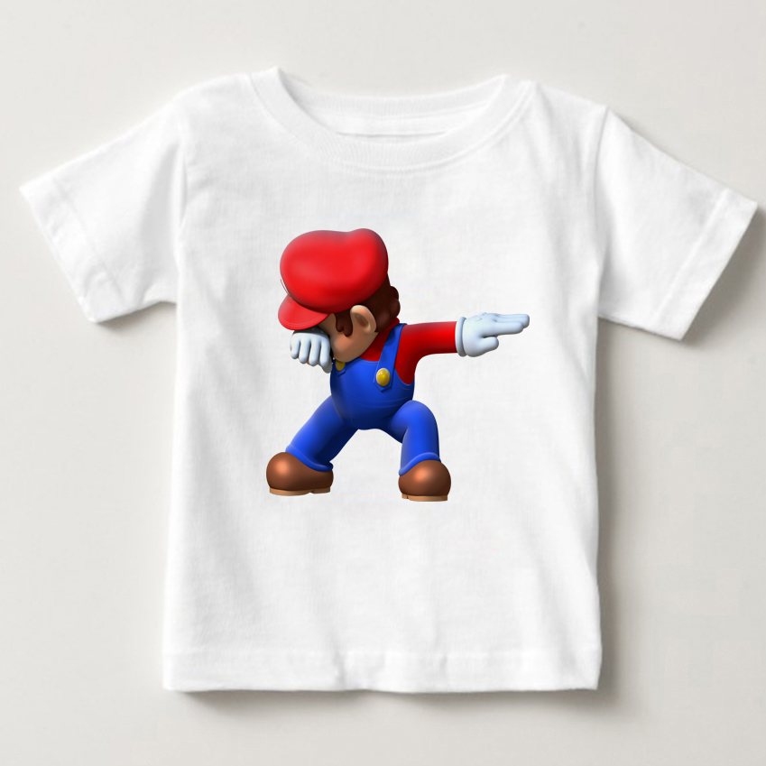 Children Dabbing Super Mario Small bear Unicorn Cartoon Design Tops Boys and Girls Game Casual T Shirt Kids summer T Shirt in T Shirts from Mother Kids