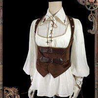 Steampunk Style Women's Chiffon Blouse Mechanical Doll Series Gear Embroidered Shirt by Infanta *Pre order*