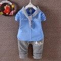 2017 Primavera Outono Do Bebê meninos roupas definir roupa dos miúdos de algodão sólida camisa de manga longa + calça 2 pçs/set menino terno roupa das crianças