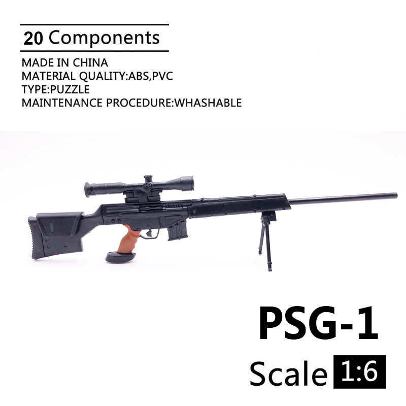 1:6 PSG-1 Sniper Rifle Gun 1/6 Black Coated Plastic Military Model Accessories For 12