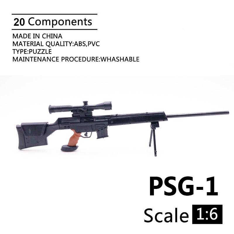 """1:6 Psg-1 Pistola De Rifle De Francotirador 1/6 Accesorios De Modelo Militar De Plástico Recubierto Negro Para Exhibición Y Colección De Figuras De Acción De 12"""""""