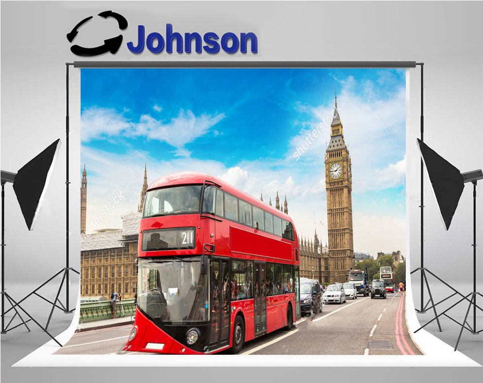 wall background High quality Computer print Sky Clouds Big Ben Westminster Bridge Red Double Decker Bus London backdrop