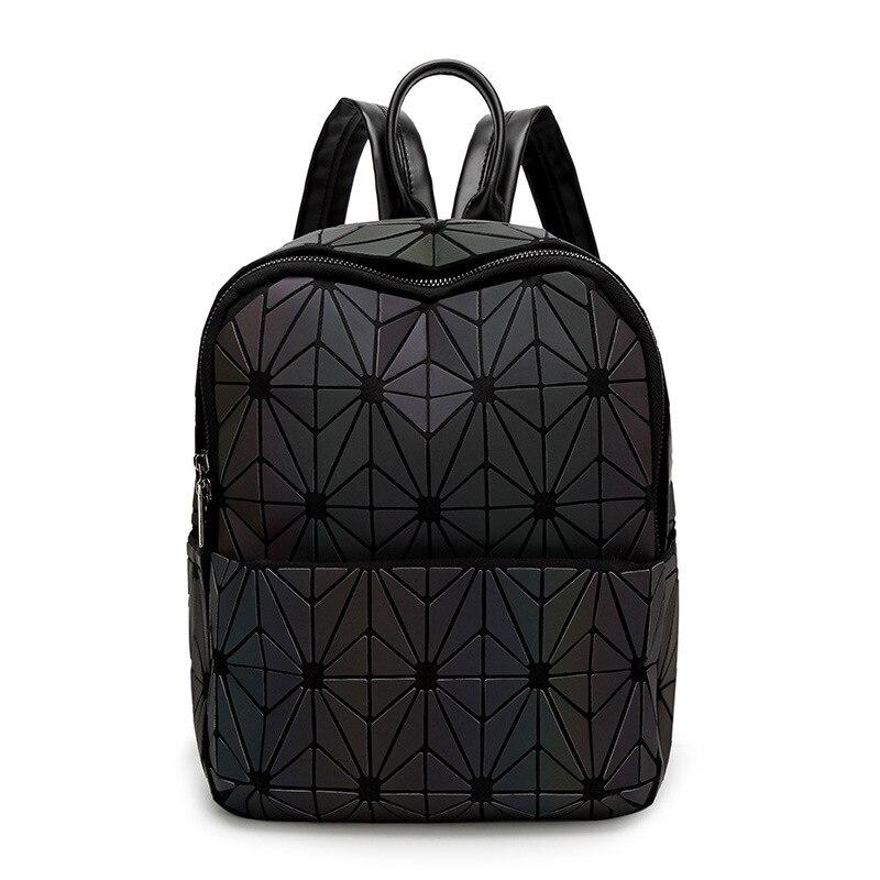 Sac à dos lumineux femme tendance sauvage voyage sac géométrique grand sac adolescente école Noctilucent sac à dos diamant treillis sac