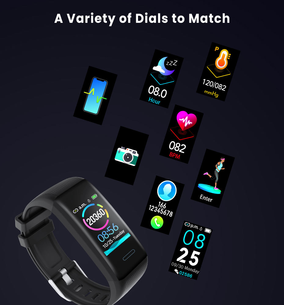 Men Women 1.14 IPS OLED Color Smart Wristbands Pedometer Sports Fitness Bracelet Blood Pressure Heart Rate Monitor Android IOS 12