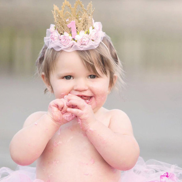 Baby First Birthday Hat Girl Princess Crown 1 Years Old Party Glitter Headband Newborn Photography Props