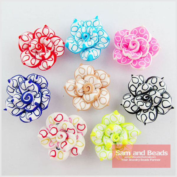 Free Ship 100Pcs Mixed Polymer Fimo Clay Flower Spacer Beads DIY Jewelry 20//30mm