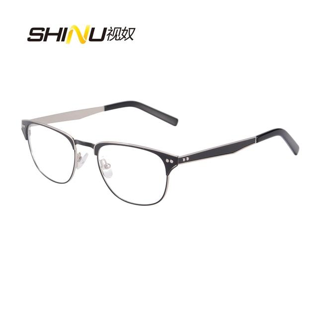 2de96475314 half rim stainless steel double color plating metal Glasses Frames Woman  Man Eyeglasses Frame for Myopia