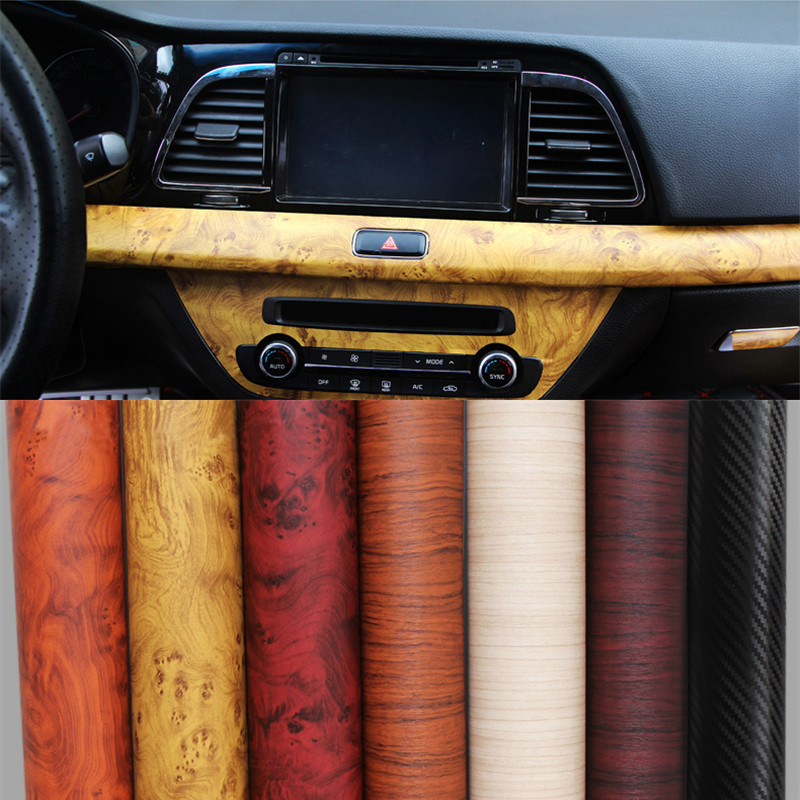 1 pc 120 30cm self adhesive vinyl wood grain textured car wrap car internal stickers wallpaper. Black Bedroom Furniture Sets. Home Design Ideas