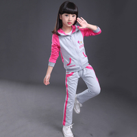 New Fashion Children Clothing Sets Hooded Toddler Kids Clothes Girls Jacket Pants Suit Spring Costume For
