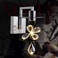 Contemporânea de Vidro Transparente Levou Parede lâmpada 3 W Vela lâmpada de Parede de Cristal Arandela Sala de Cabeceira arandelas de Parede de Luz Projeto