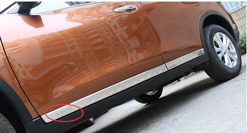 High Quality ! 4 Pcs / Set For Nissan Rogue 2014 2015 / X-trail 2014 2015 Stainless Steel Side Door Body Molding Cover Trim