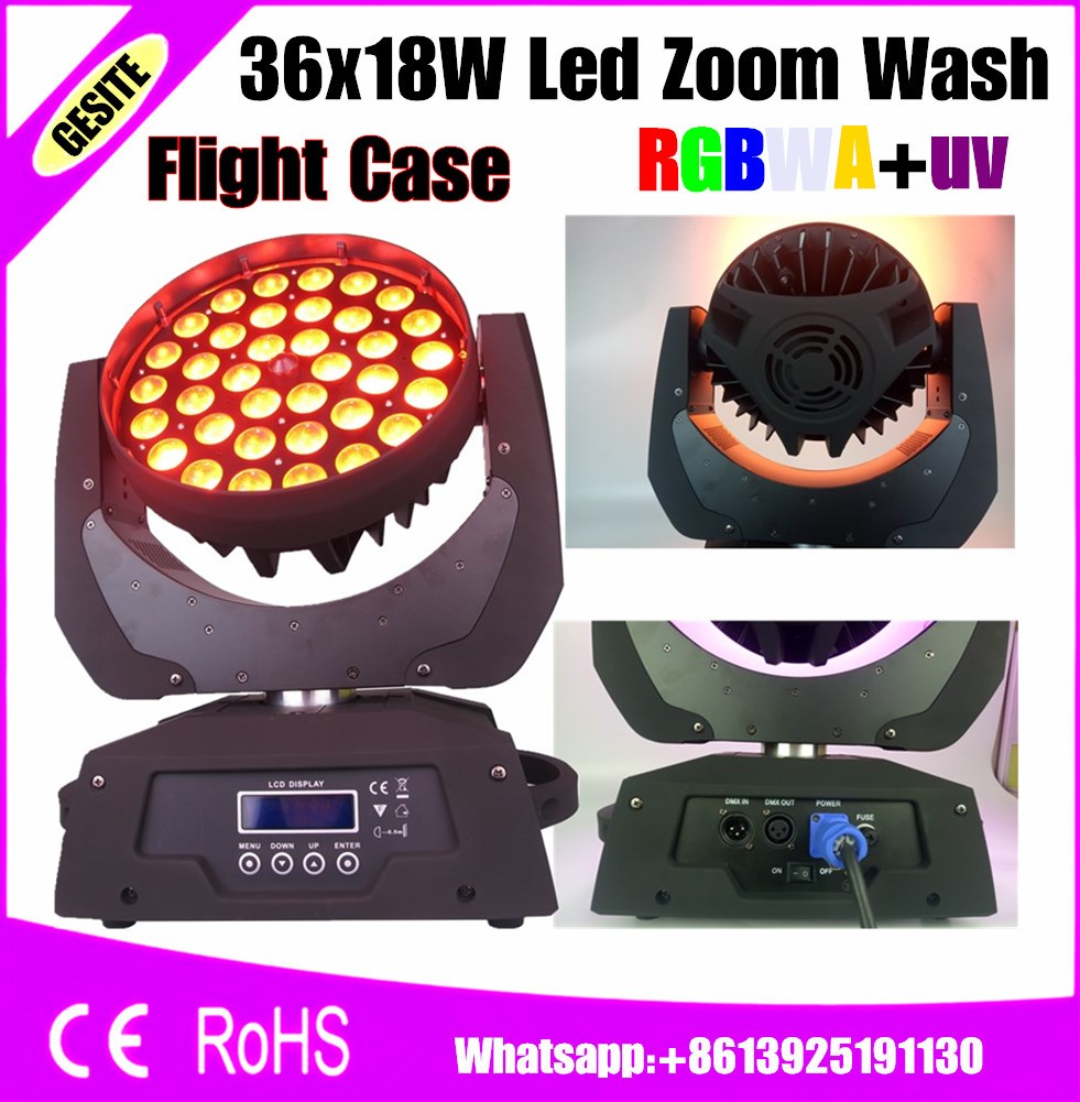 flight case package 4 pcs/lot lyre light 36x18w Led Zoom Moving Head 6in1 Rgbwa Uv Led Wash Moving Head Dj Stage Lighting