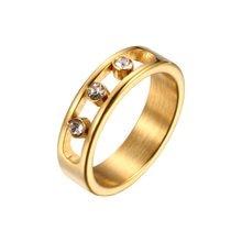 Bagues tendance en acier inoxydable pour femmes et hommes, strass CZ, couleur or Rose, bijoux de fête de fiançailles et de mariage