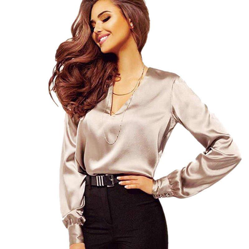 Весна Осень 2019 женские свободные рубашки сексуальные глубокий v-образный вырез модные вечерние женские блузки повседневные однотонные атласные топы с длинными рукавами