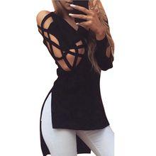 Womens T-shirts Asymmetrical Sexy Deep V Neck Black Bandage Shirts Push Up Tops Tees Clothes T Shirt Plus Size