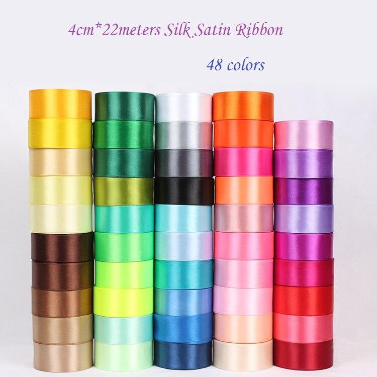 48 Colors Choose 40mm *25 Yards Silk Satin Ribbon, Wedding Decorative Ribbons, Gift Wrap Ribbons ,DIY Braided Hair - koshine Store store