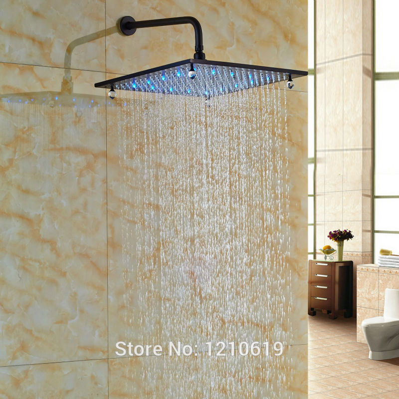 Newly Luxury LED Lights Shower Head 16 Inch Oil Rubbed Bronze Crystal Top Shower Spray Head w/ Wall Mount Arm allen roth brinkley handsome oil rubbed bronze metal toothbrush holder
