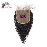 Sunnymay 6x6 Lace Closure Deep Wave European Virgin Hair Pre plcuked Lace Frontal Closure With Baby Hair Bleached Knots