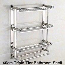 SUS 304 Stainless Steel 40/50/60cm Triple Tier Bathroom Shelves Polished Finish Storage Rack Towel Rack Wall Shelf Accessories