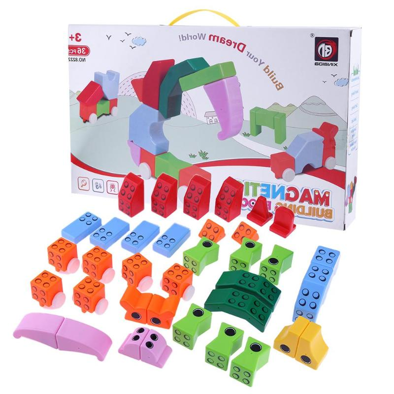 36pcs/set Plastic Magnetic Tiles Building Blocks Construction Model Toys