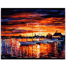WONZOM Sunset Ocean DIY Painting By Numbers Sea Boat Coloring Number Acrylic Paint On Canvas For Living Room Wall Artwork