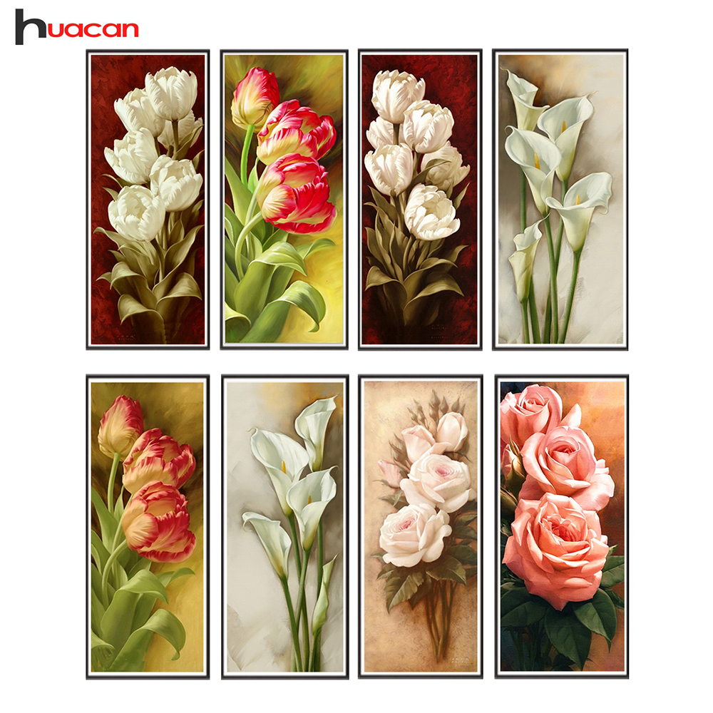 HUACAN Diamond Embroidery Flower 5D DIY Diamond Painting Mosaic Wall Art Painting Full Round Cross Stitch Art Դեկոր ասեղնագործություն