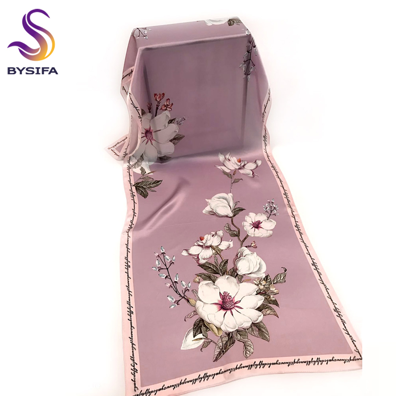 [BYSIFA] Women 100% Silk Scarf New Lilac Design Luxury Neck Silk Satin Scarf Shawl Winter Elegant Grey Pink Long Scarves Wraps