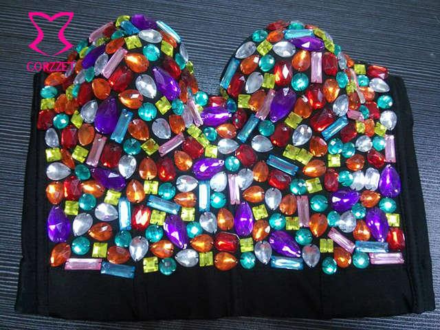 1ace9bec4f Plus Size Bralette Bustier Bra Push Up Rainbow Gem Stud Bras For Women  Underwear Burlesque Club
