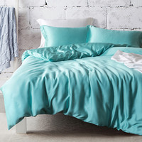 100% Double sided Tencel Bedding Sets 4pcs Solid Color Bed Linen Comforter Duvet Cover King Size Fitted Bed Sheet Pillowcases