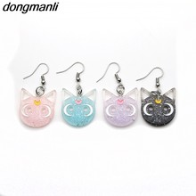 P1012 Dongmanli Harajuku Anime Sailor Moon Luna Black Cat Dangle Earrings Lovely Cosplay Drop Earrings Acrylic Jewelry for Women(China)