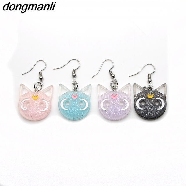 P1012 Dongmanli Harajuku Anime Sailor Moon Luna Black Cat Dangle Earrings Lovely Cosplay Drop Earrings Acrylic Jewelry for Women